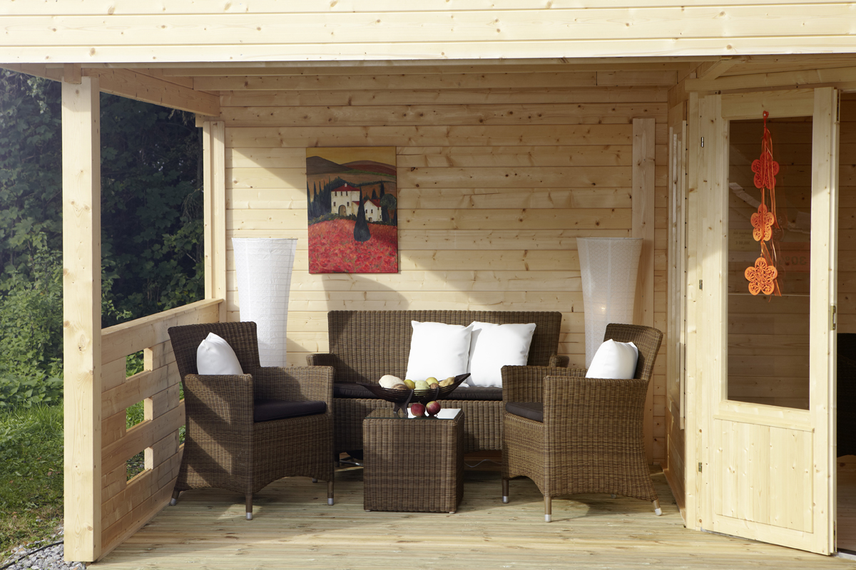 gartenhaus wolff finnhaus maja 40 b 1 mit terrasse 250. Black Bedroom Furniture Sets. Home Design Ideas