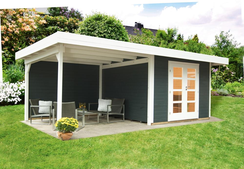 Gartenhaus Relaxhaus «590x301» Flachdach Holzhaus mit seitlichem  Terrassenanbau | vom Gartenhaus-Fachhändler