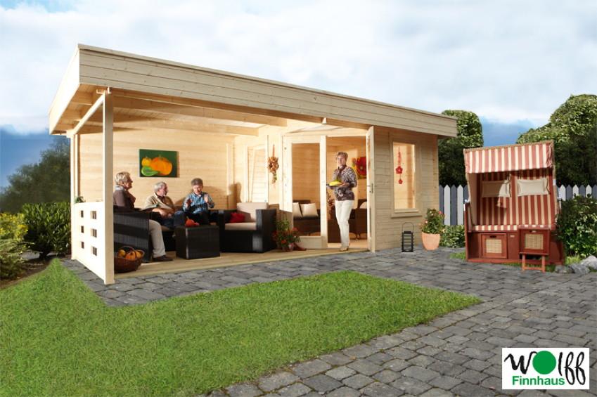 Gartenhaus Klein gartenhaus flachdach 280x280cm mit terrassenanbau fünf eck holz