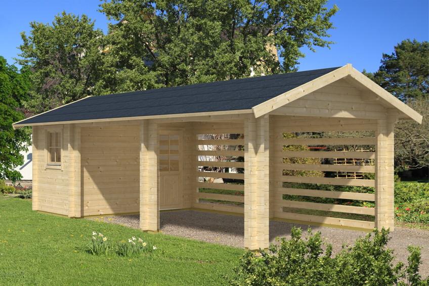 Holz Carport Bausatz SKANHOLZ «Stockholm» mit Anbauschuppen