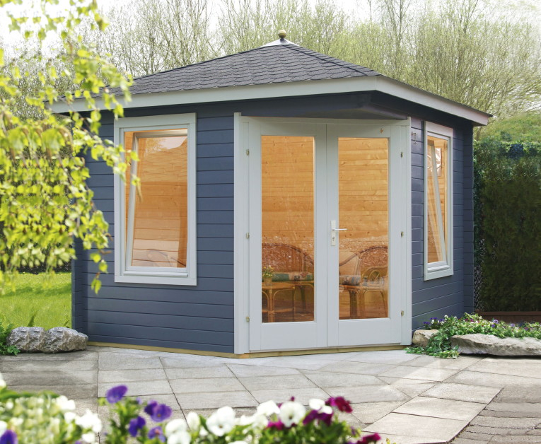 5-Eck-Gartenhaus «240x240cm Holzhaus Bausatz» Einzeltür mit ...