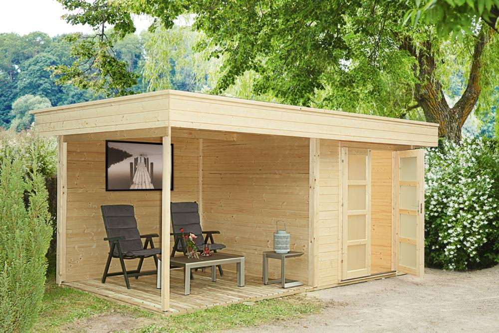 Gartenhaus Flachdach «250x250cm Holzhaus Bausatz 28mm inkl. seitlicher  Terrasse» | vom Gartenhaus-Fachhändler