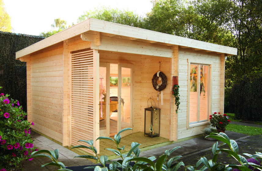 Blockbohlenhauser Mit Flachdach Vom Gartenhaus Fachhandler
