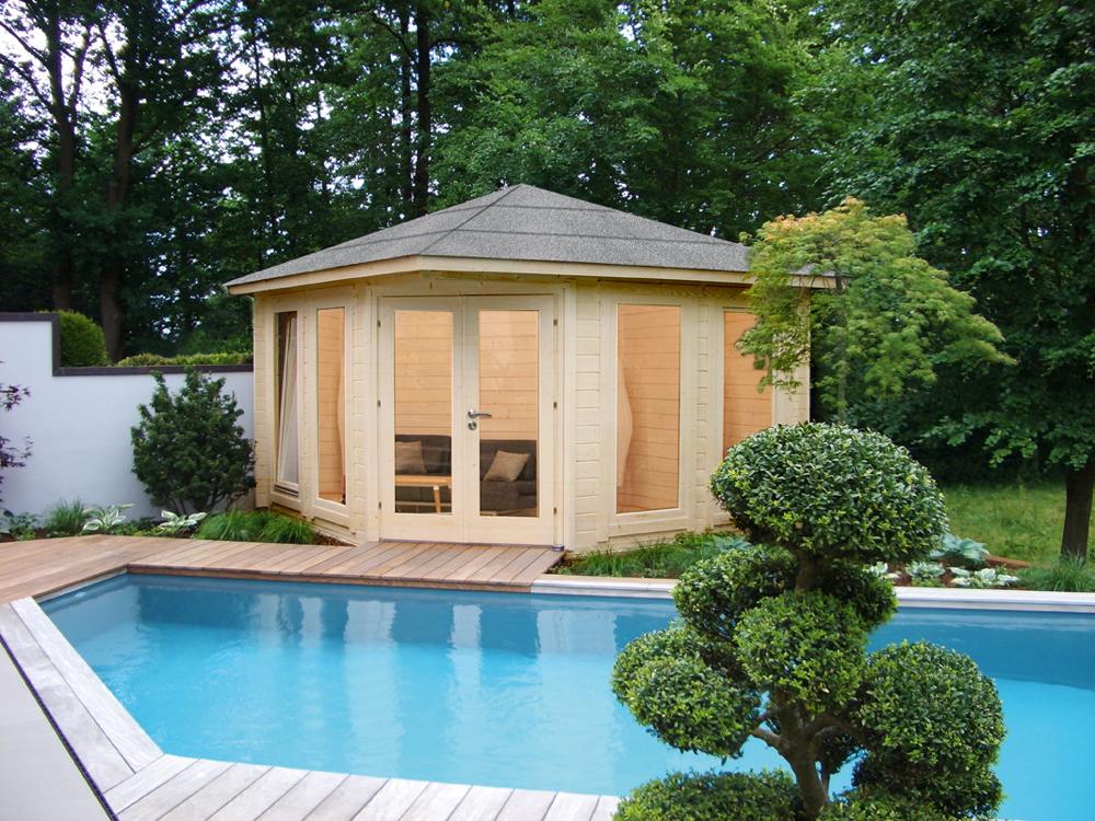 5-Eck-Gartenhaus «360x360 cm Holzhaus Bausatz 44mm» Doppeltür Gartenlaube |  vom Gartenhaus-Fachhändler
