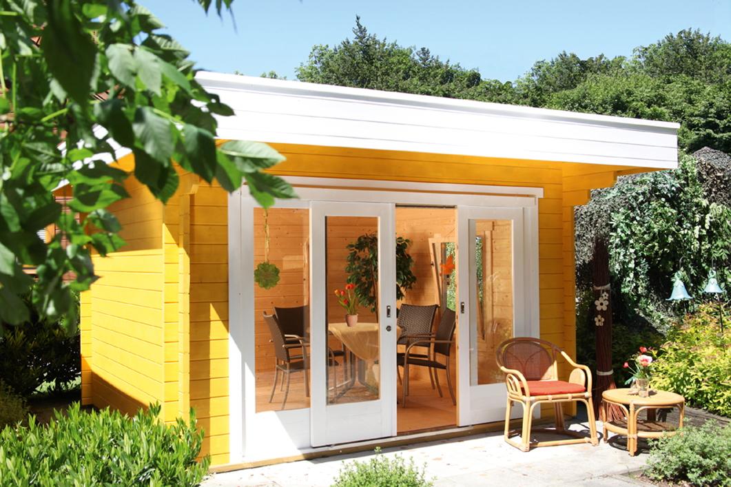 Gartenhaus 360x360cm Holzhaus Bausatz Mit Schiebetür Flachdach